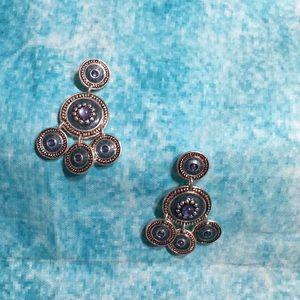 Jewelry - Silvertone & Blue Chandelier Pierced Earrings